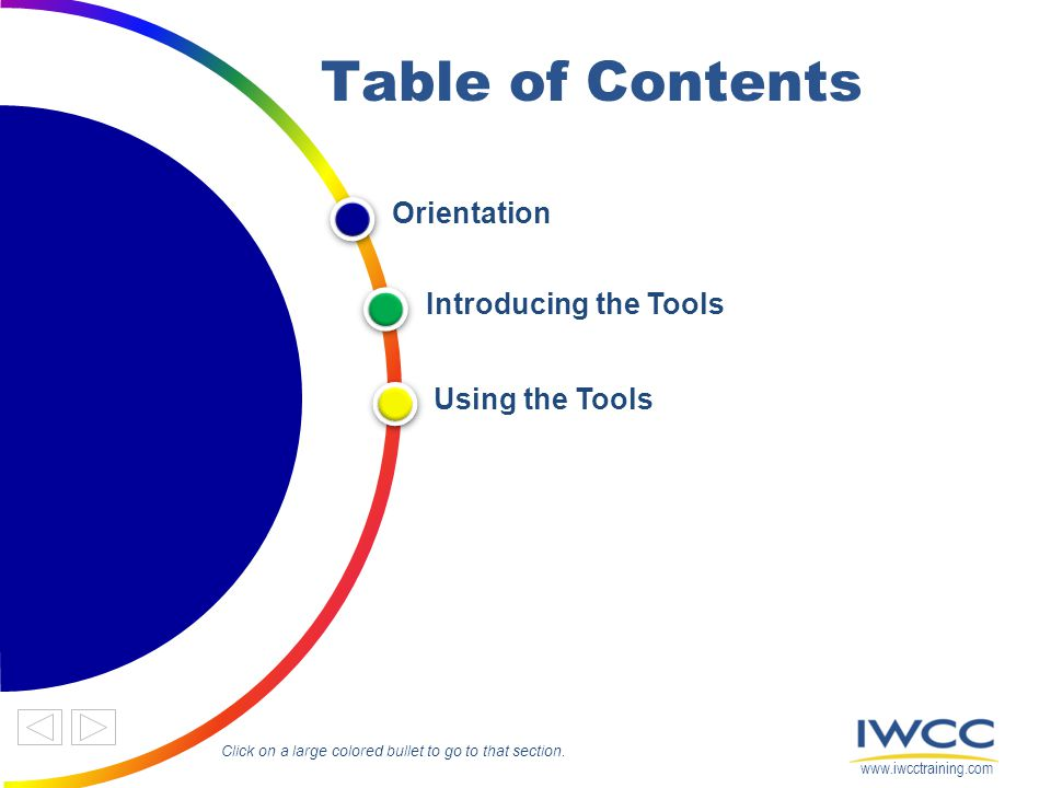 Table of Contents Orientation Introducing the Tools Using the Tools