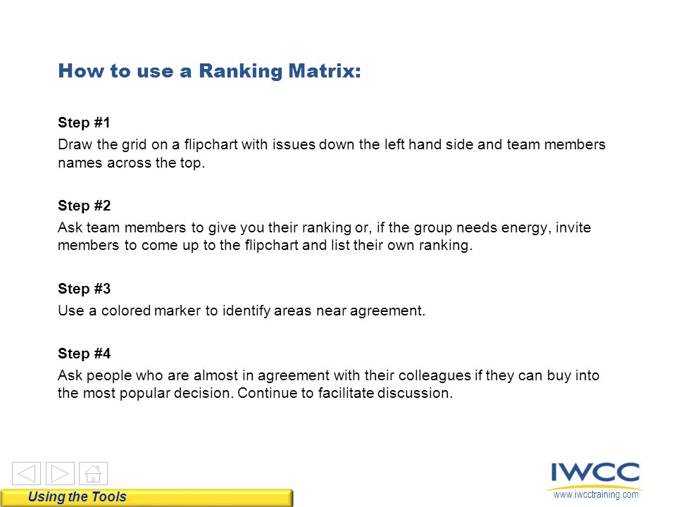 How to use a Ranking Matrix: