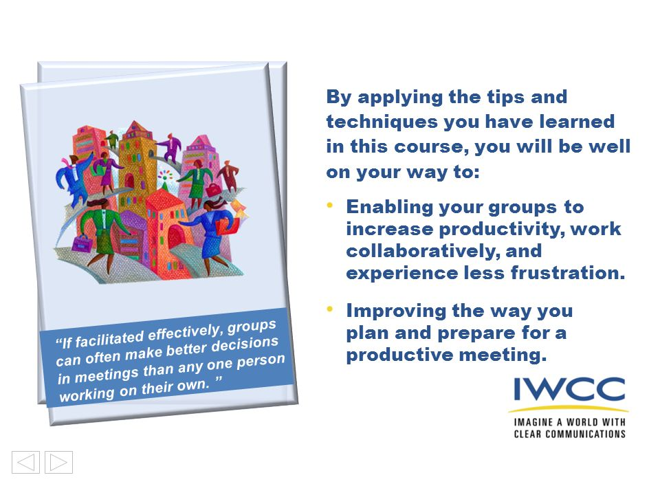 Improving the way you plan and prepare for a productive meeting.