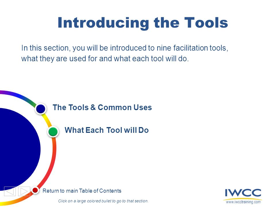 Introducing the Tools In this section, you will be introduced to nine facilitation tools, what they are used for and what each tool will do.