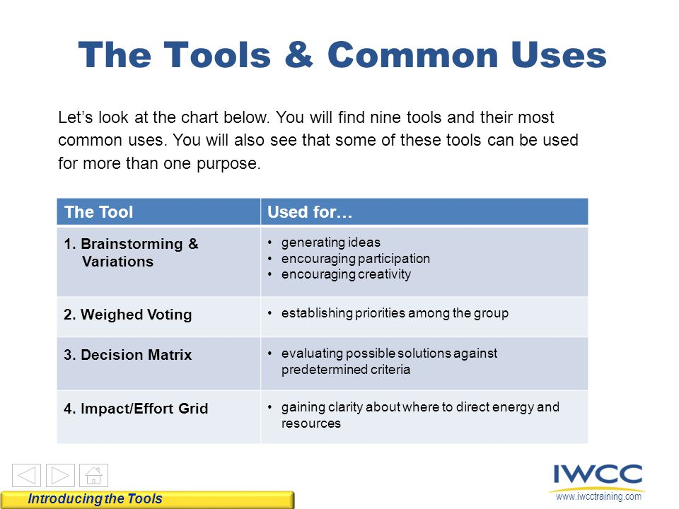 The Tools & Common Uses
