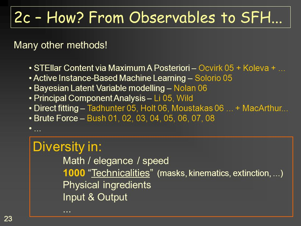 2c – How From Observables to SFH...