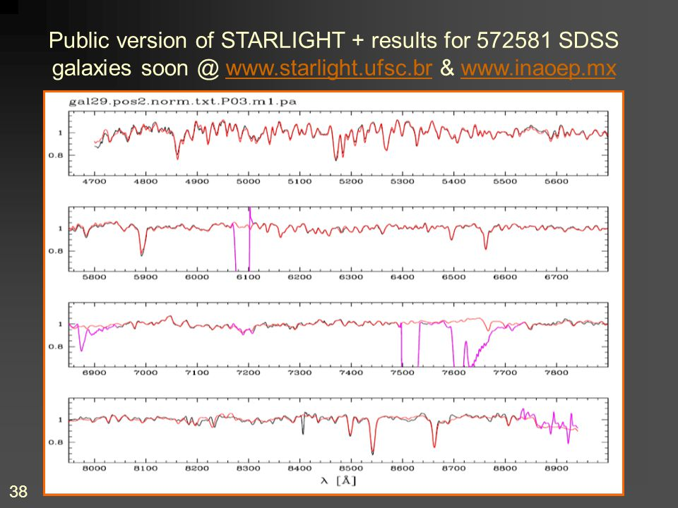 Public version of STARLIGHT + results for 572581 SDSS galaxies soon @ www.starlight.ufsc.br & www.inaoep.mx