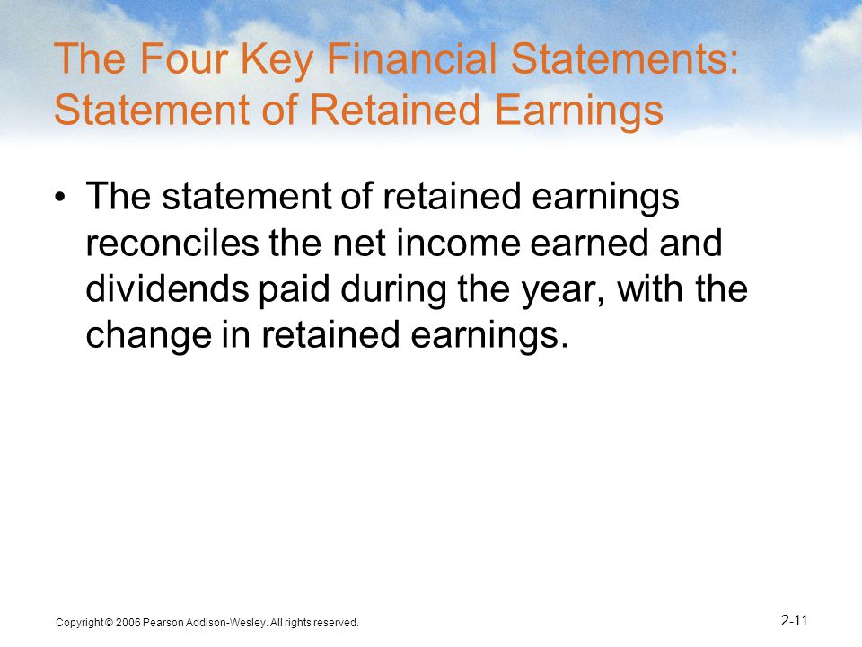The Four Key Financial Statements: Statement of Retained Earnings