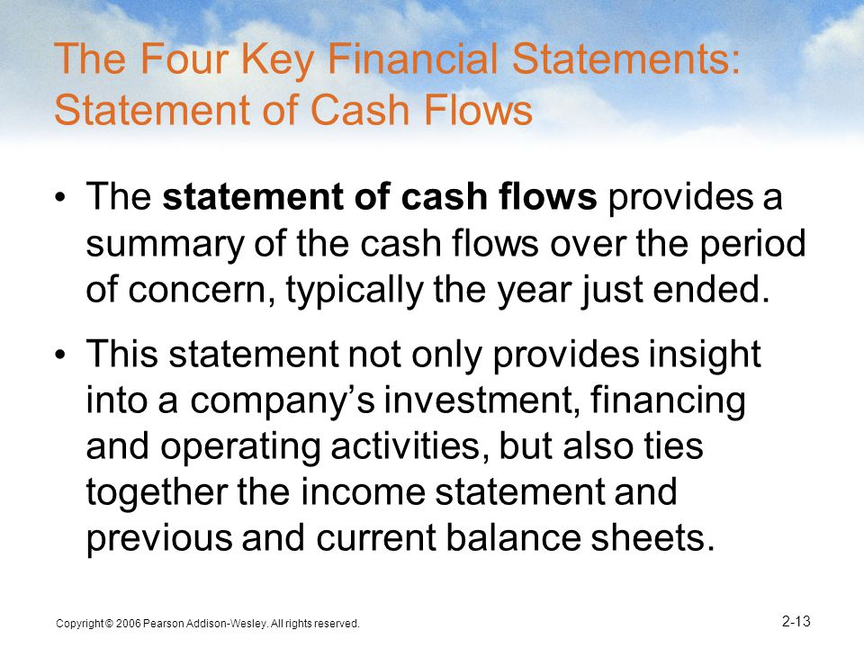 The Four Key Financial Statements: Statement of Cash Flows