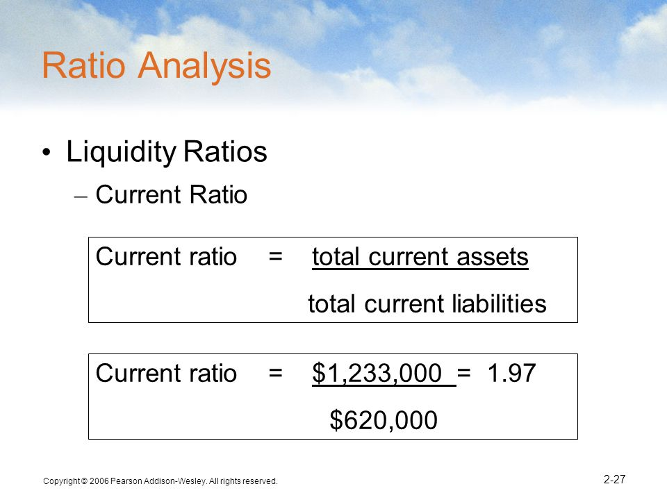 Ratio Analysis Liquidity Ratios Current Ratio
