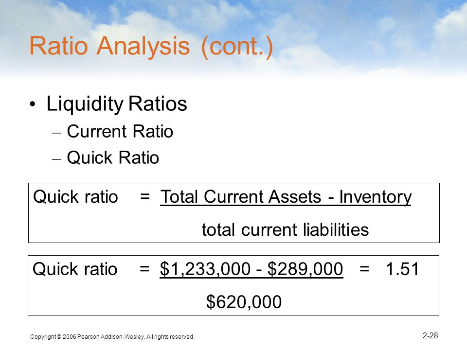 Ratio Analysis (cont.) Liquidity Ratios Current Ratio Quick Ratio