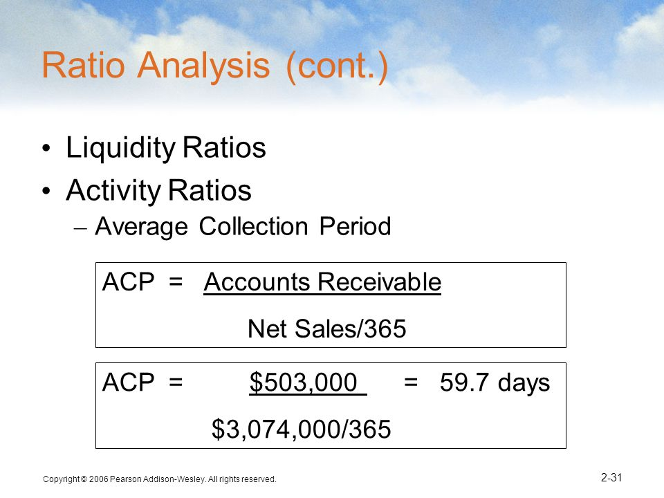 Ratio Analysis (cont.) Liquidity Ratios Activity Ratios