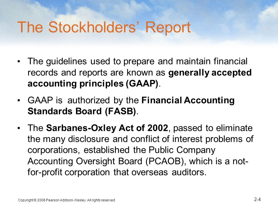 The Stockholders' Report