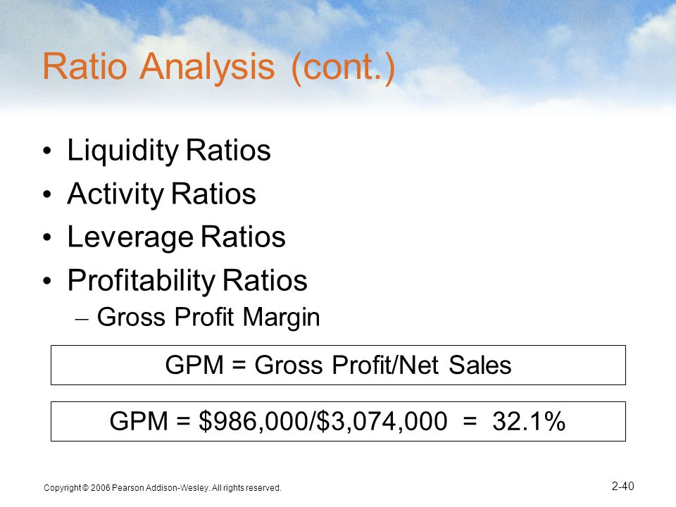 GPM = Gross Profit/Net Sales
