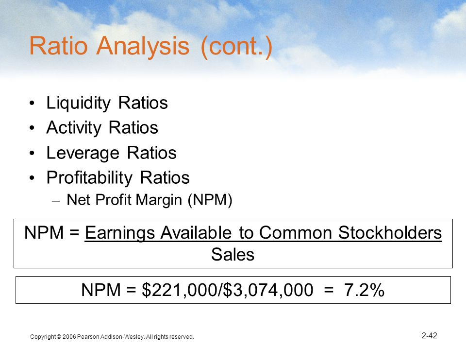 NPM = Earnings Available to Common Stockholders Sales