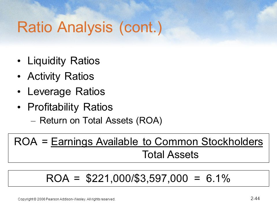 ROA = Earnings Available to Common Stockholders Total Assets