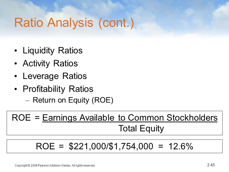 ROE = Earnings Available to Common Stockholders Total Equity