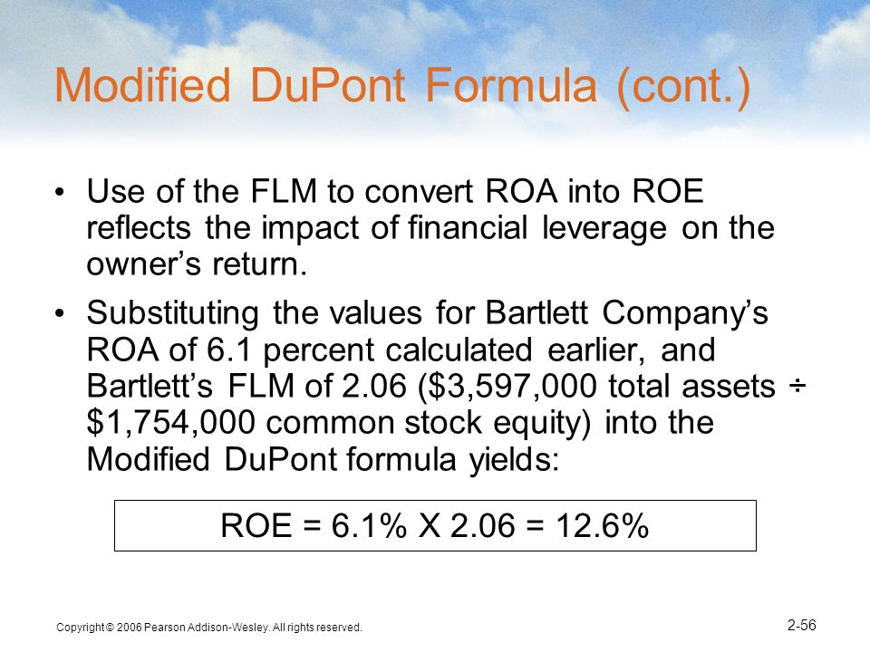 Modified DuPont Formula (cont.)
