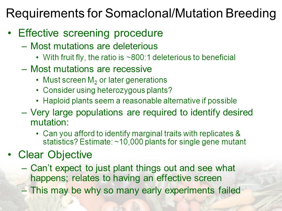 Requirements for Somaclonal/Mutation Breeding