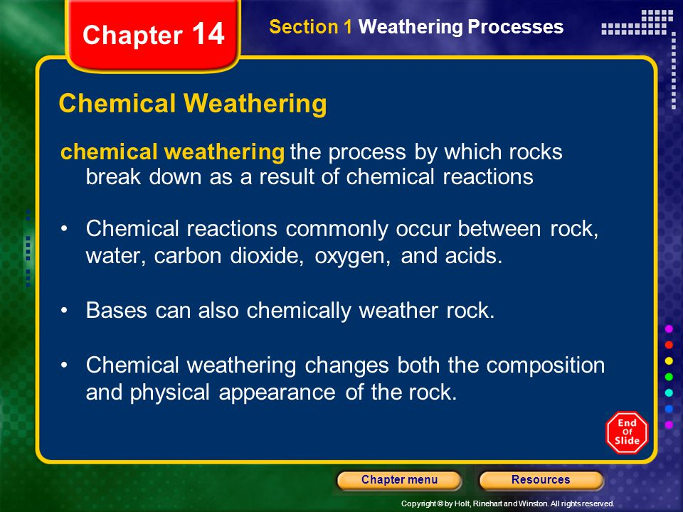 Chapter 14 Chemical Weathering
