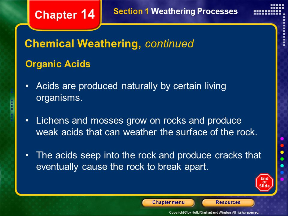 Chemical Weathering, continued