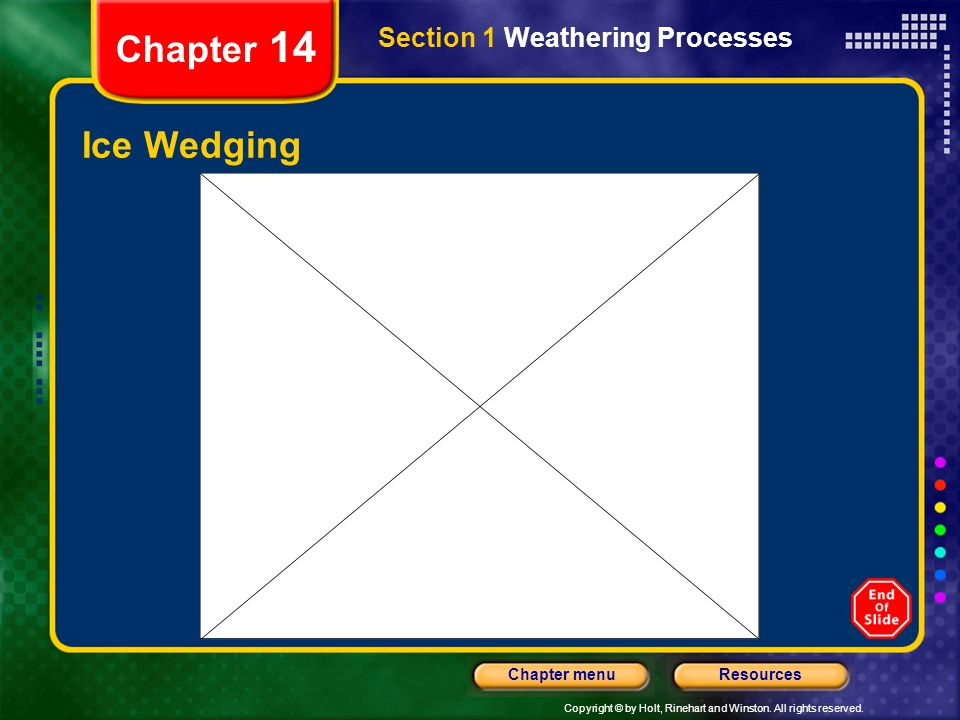 Chapter 14 Section 1 Weathering Processes Ice Wedging