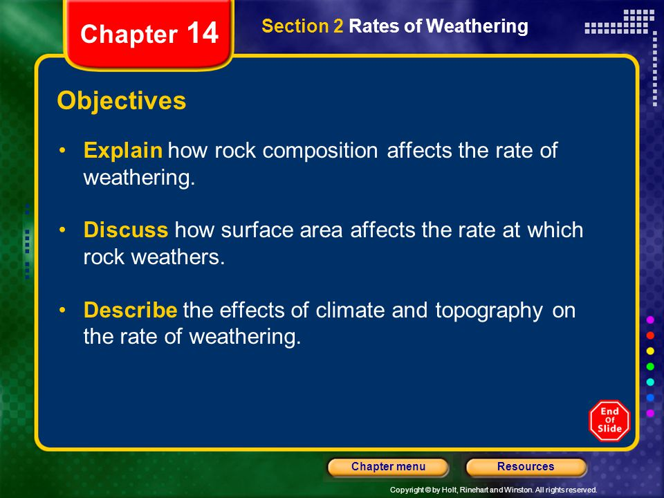 Chapter 14 Section 2 Rates of Weathering. Objectives. Explain how rock composition affects the rate of weathering.
