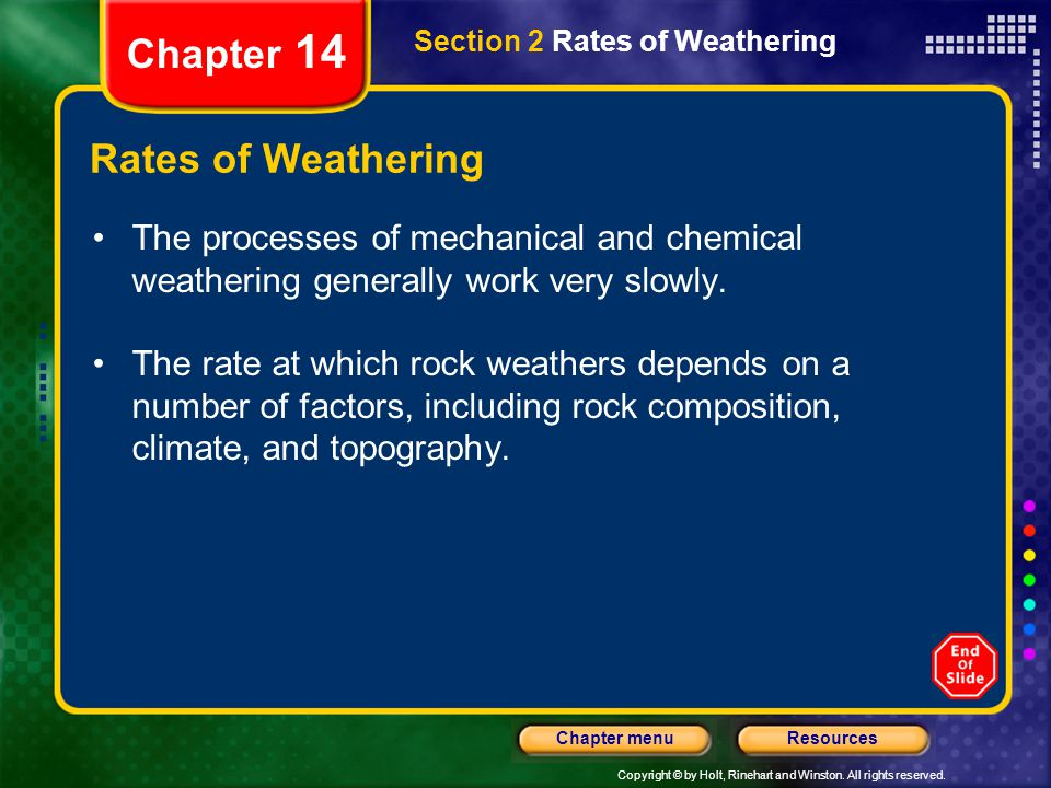 Chapter 14 Rates of Weathering