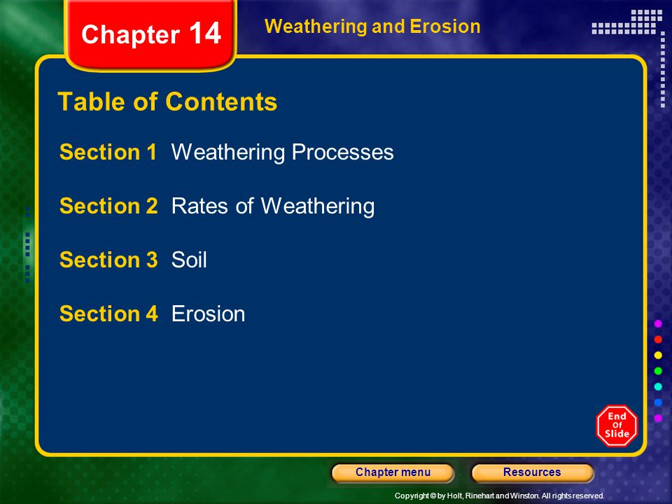 Chapter 14 Table of Contents Section 1 Weathering Processes
