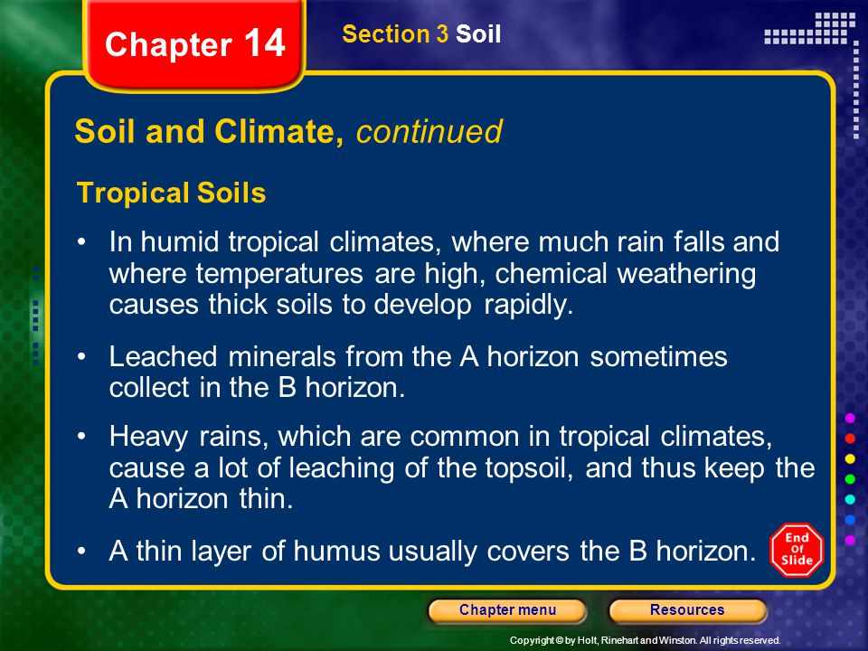 Soil and Climate, continued