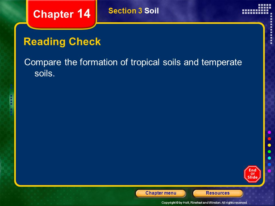 Chapter 14 Section 3 Soil. Reading Check.