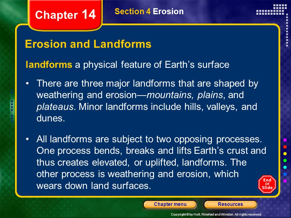 Chapter 14 Erosion and Landforms