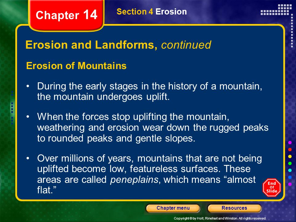 Erosion and Landforms, continued