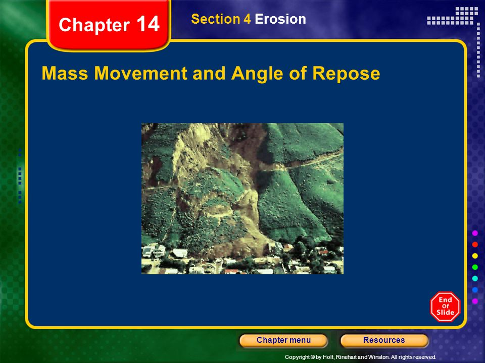 Mass Movement and Angle of Repose