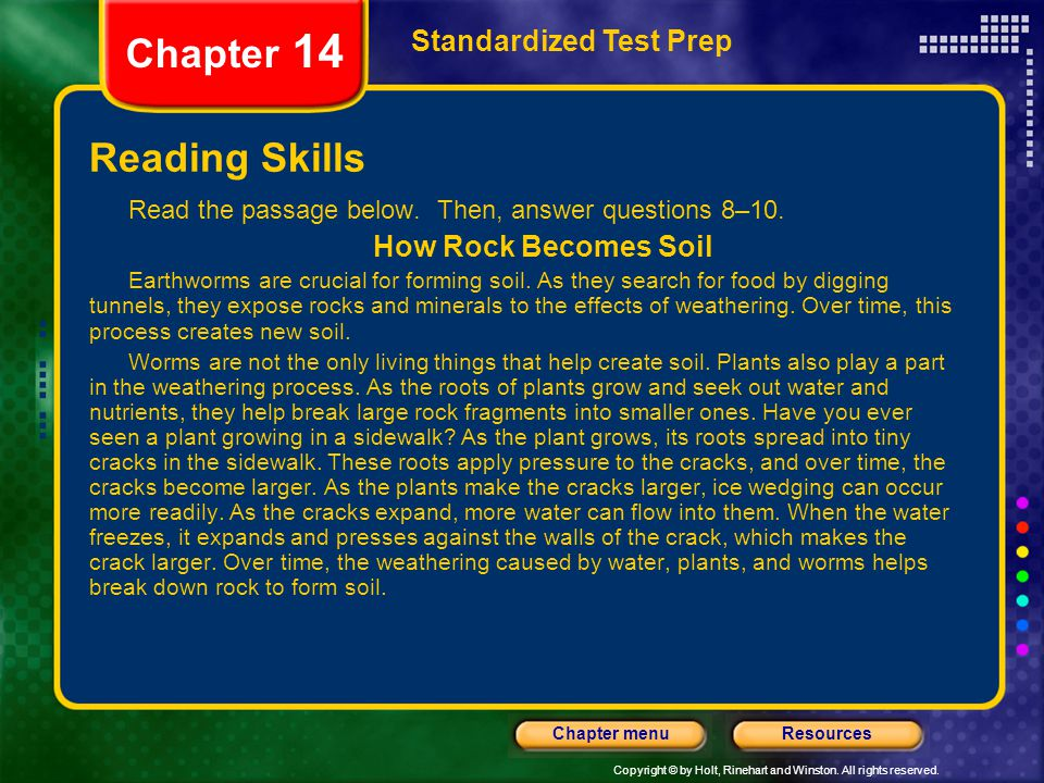 Chapter 14 Reading Skills Standardized Test Prep How Rock Becomes Soil