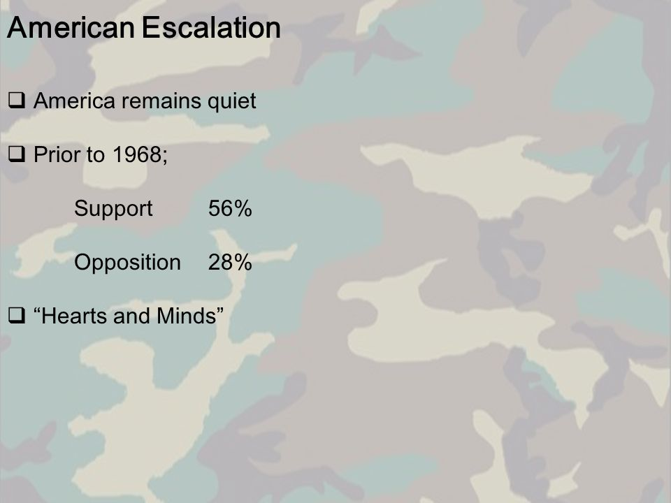 American Escalation America remains quiet Prior to 1968; Support 56%