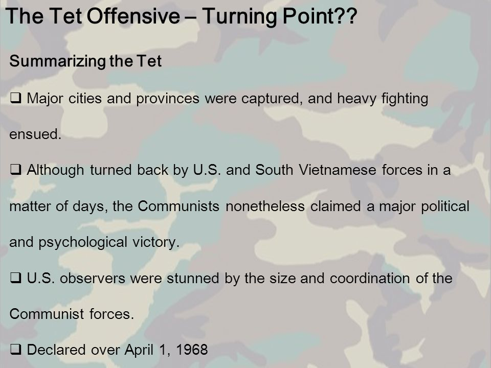 The Tet Offensive – Turning Point
