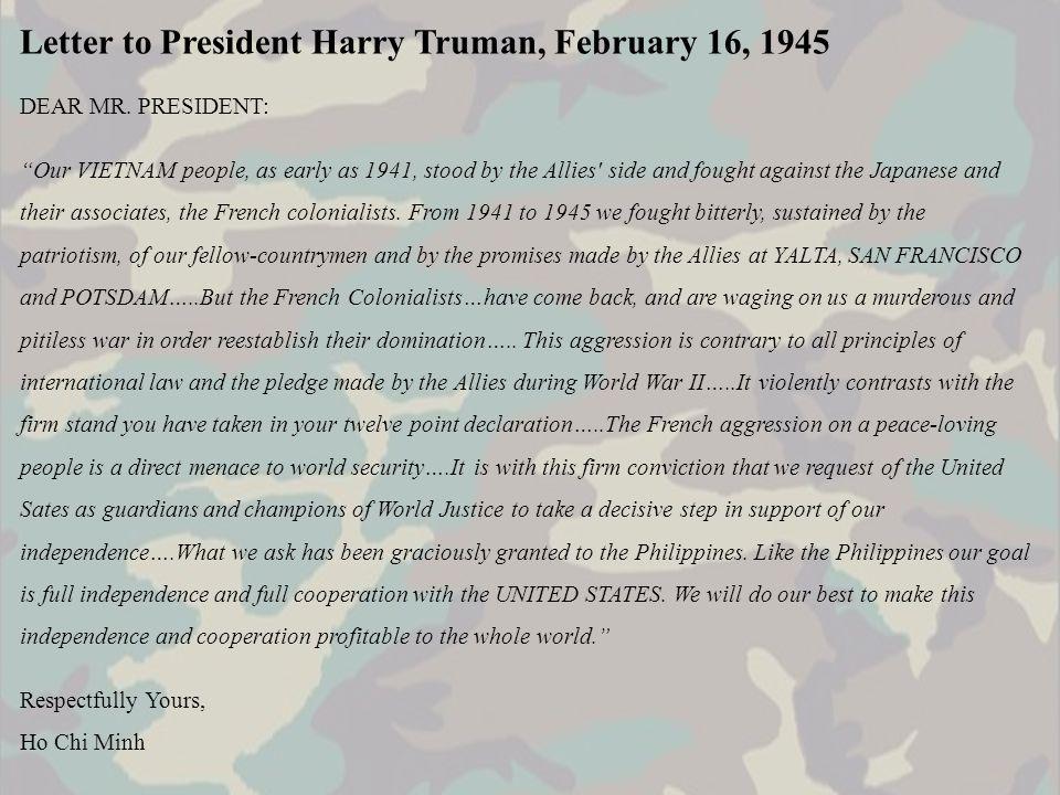 Letter to President Harry Truman, February 16, 1945