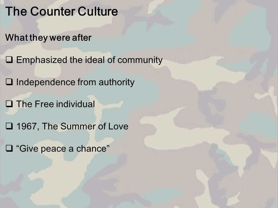 The Counter Culture What they were after