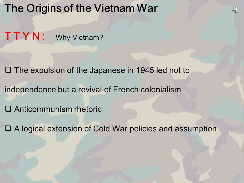The Origins of the Vietnam War TTYN: Why Vietnam