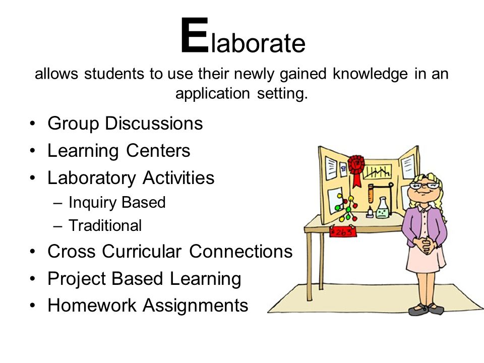 Elaborate allows students to use their newly gained knowledge in an application setting.