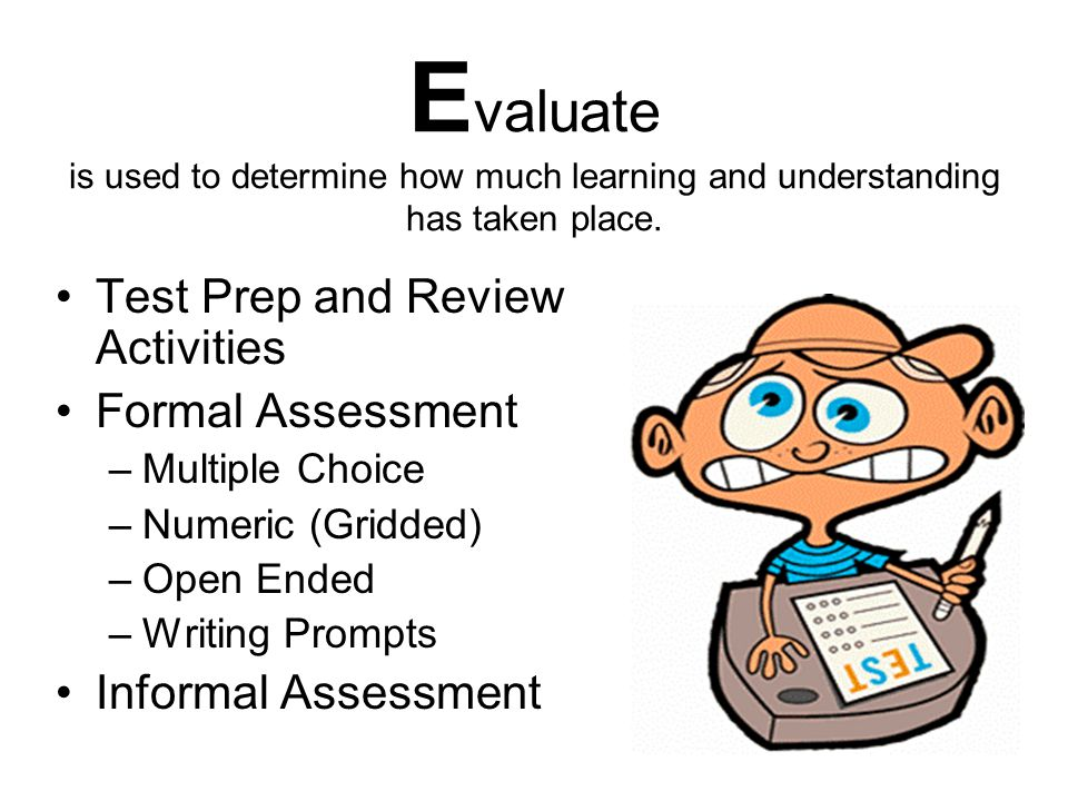 Evaluate is used to determine how much learning and understanding has taken place.