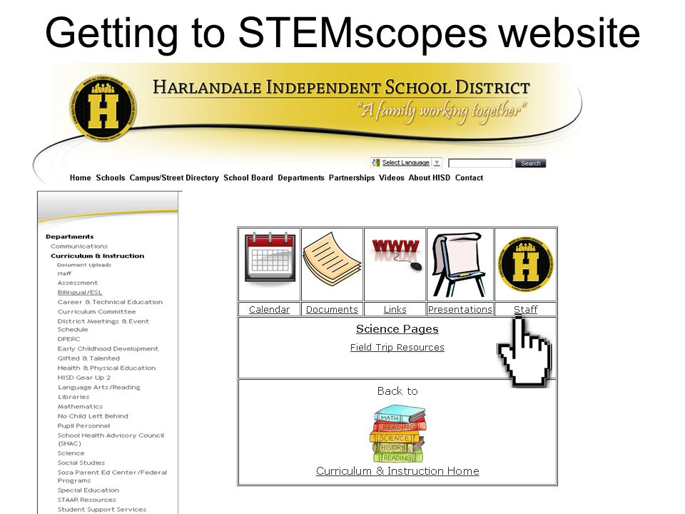 Getting to STEMscopes website