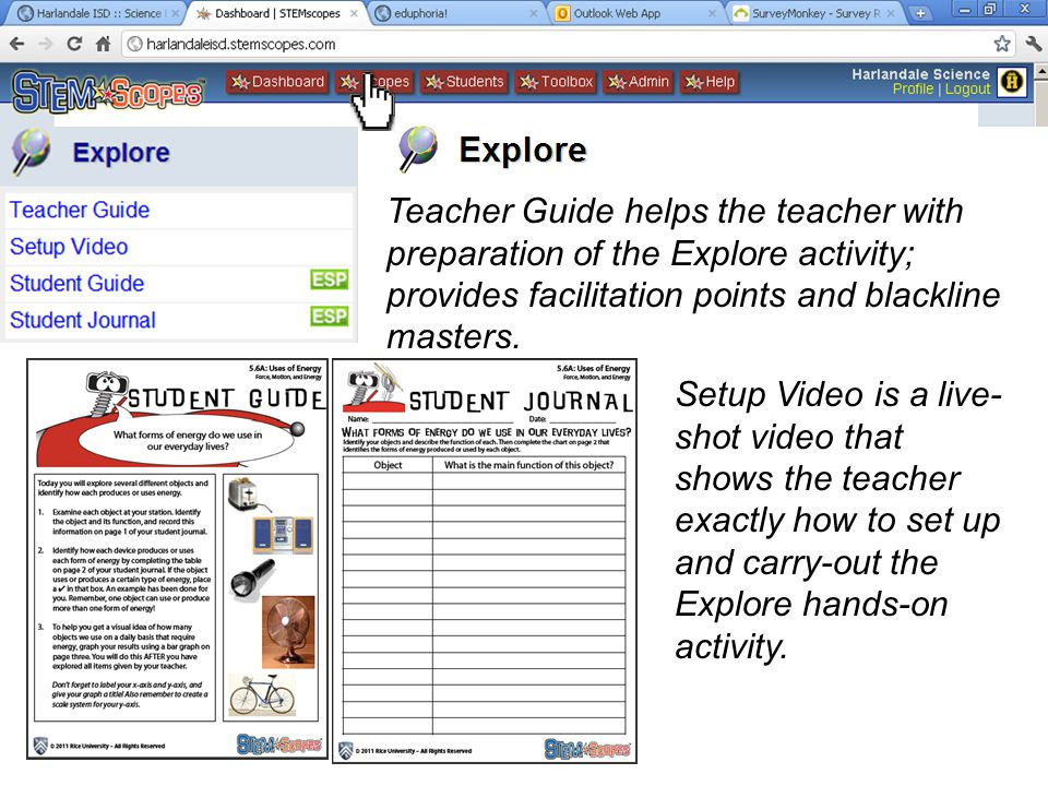 Teacher Guide helps the teacher with preparation of the Explore activity; provides facilitation points and blackline masters.