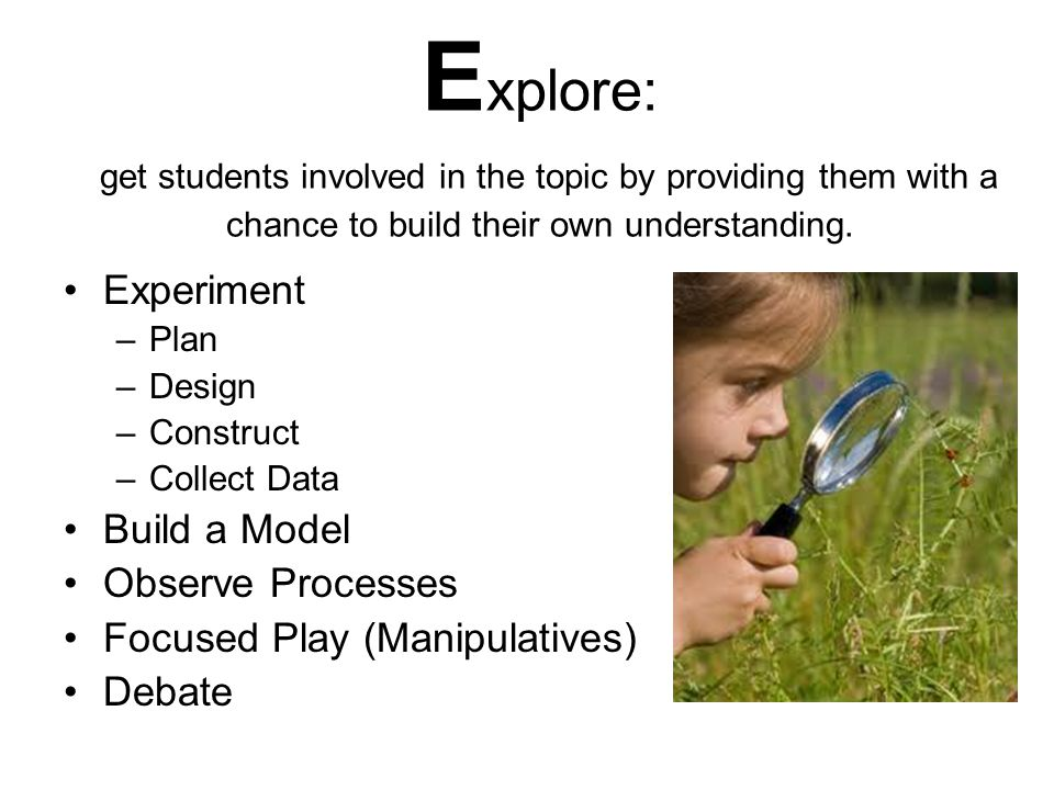 Explore: get students involved in the topic by providing them with a chance to build their own understanding.