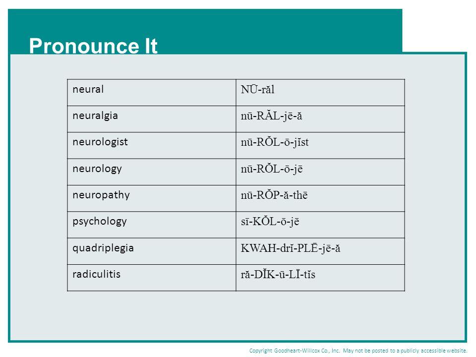 Pronounce It neural NŪ-răl neuralgia nū-RĂL-jē-ă neurologist