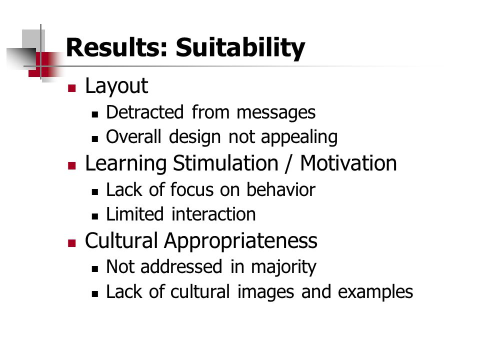 Results: Suitability Layout Learning Stimulation / Motivation