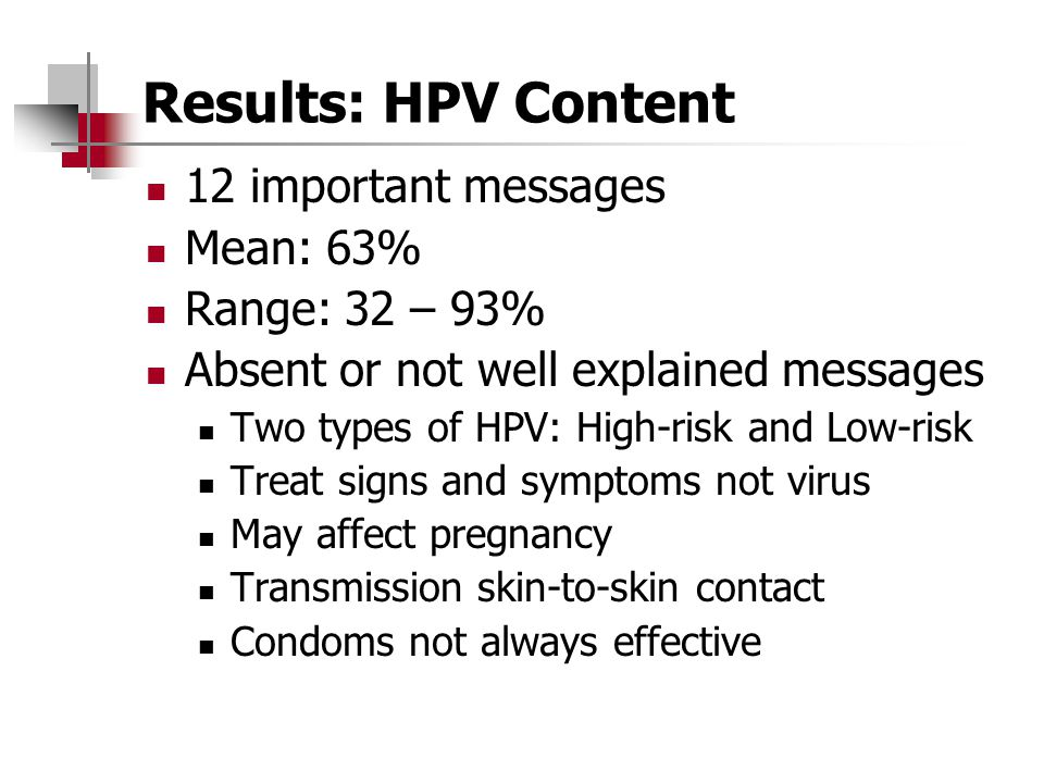 Results: HPV Content 12 important messages Mean: 63% Range: 32 – 93%