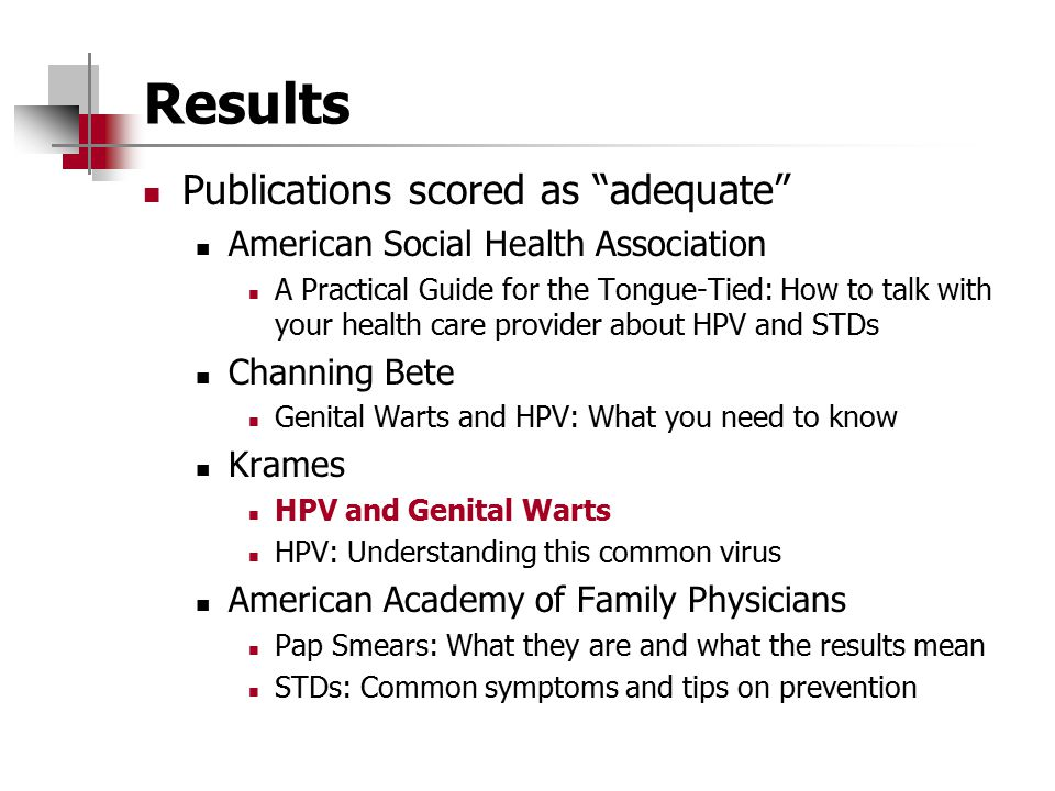 Results Publications scored as adequate
