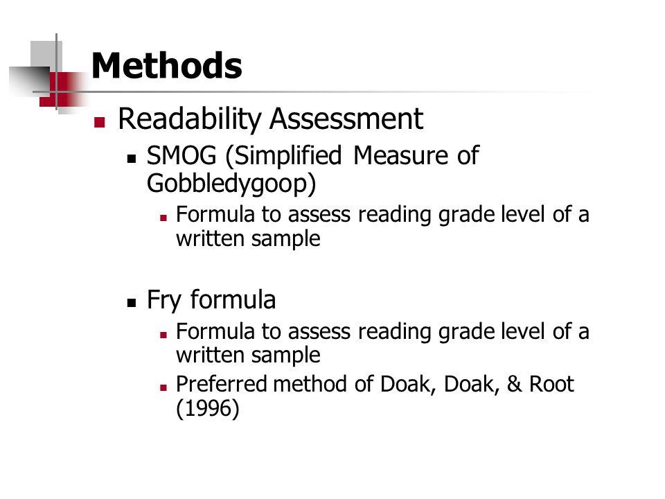 Methods Readability Assessment