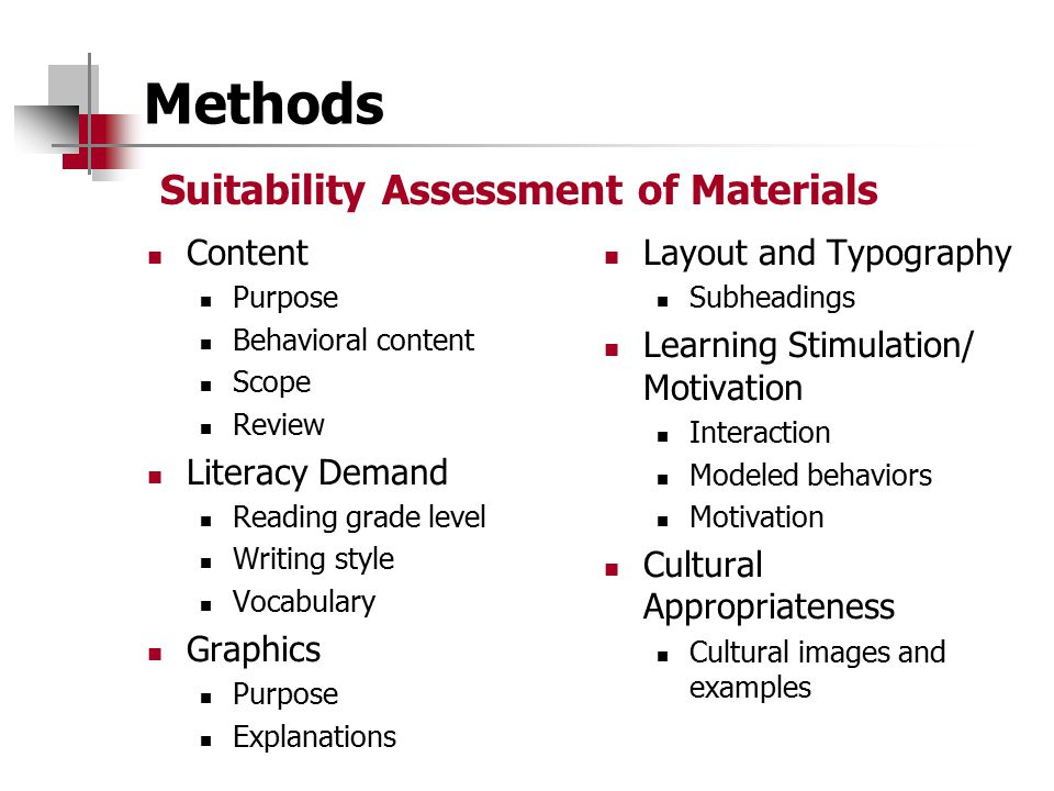 Methods Suitability Assessment of Materials Content Literacy Demand