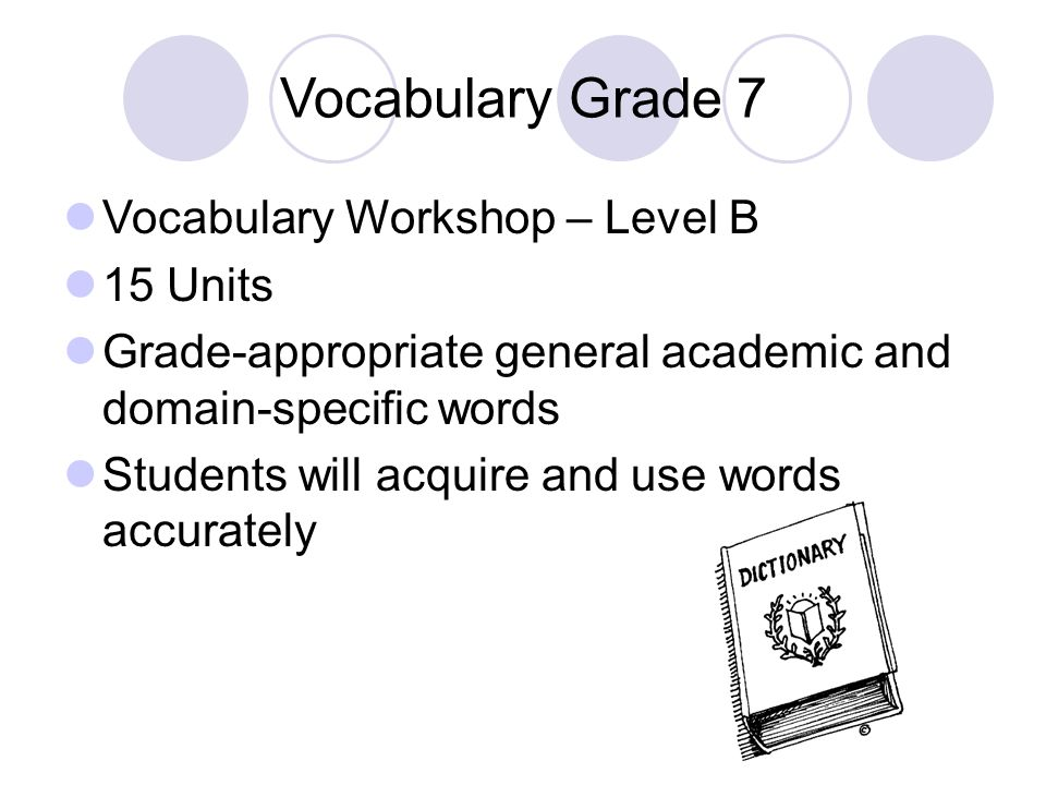 Vocabulary Grade 7 Vocabulary Workshop – Level B 15 Units