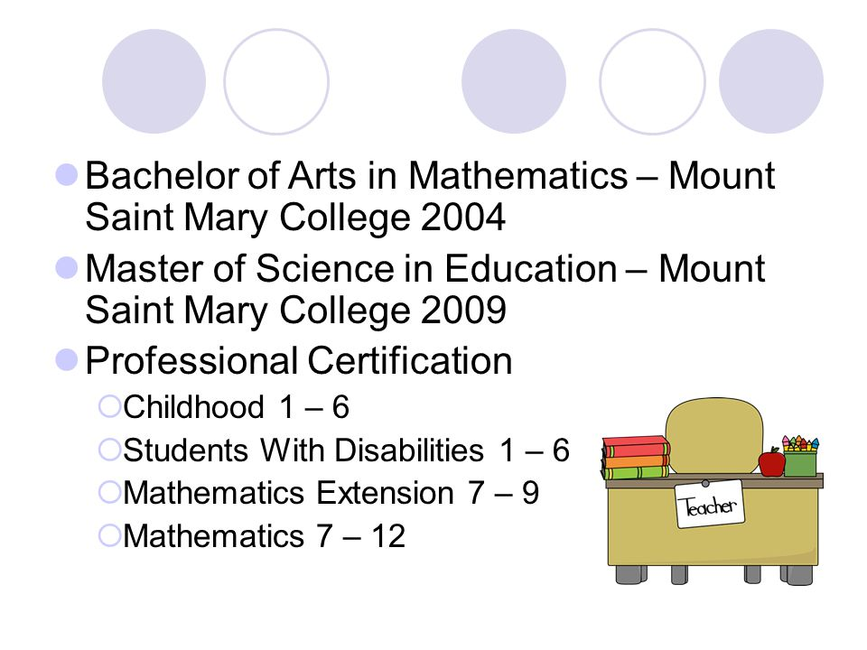 Bachelor of Arts in Mathematics – Mount Saint Mary College 2004