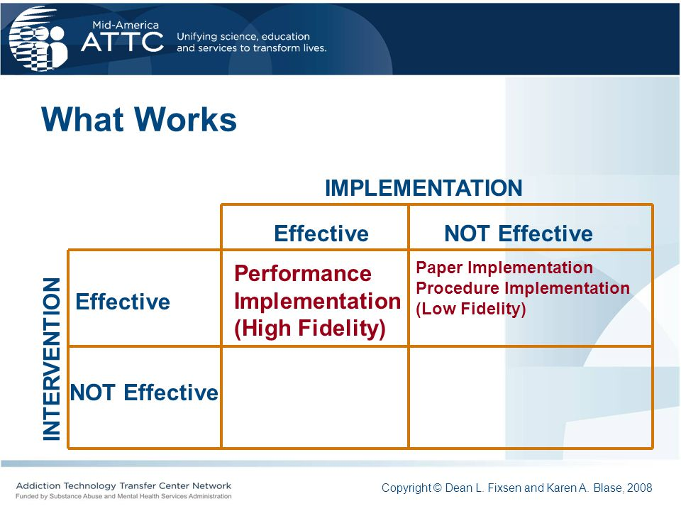 What Works IMPLEMENTATION Effective NOT Effective